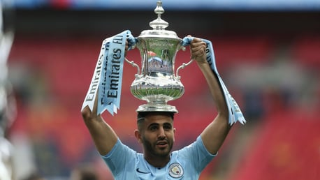 Riyad Mahrez Man City FA Cup trophy