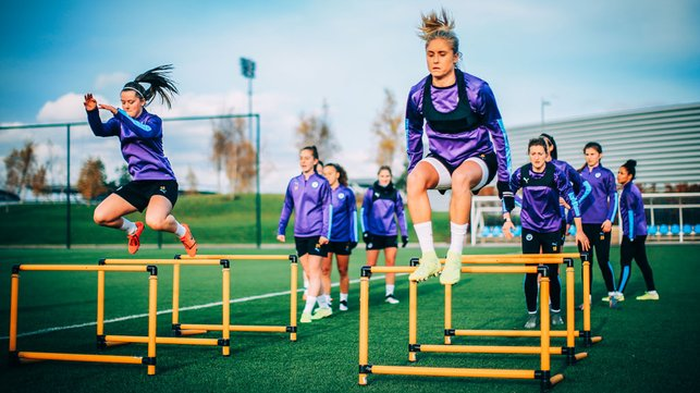 FLYING SQUAD : Steph Houghton and Tyler Toland leap into action