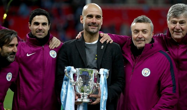 FIRST OF MANY : The Catalonian collects his firsts trophy at City, winning the 2018 Carabao Cup final 3-0 against Arsenal