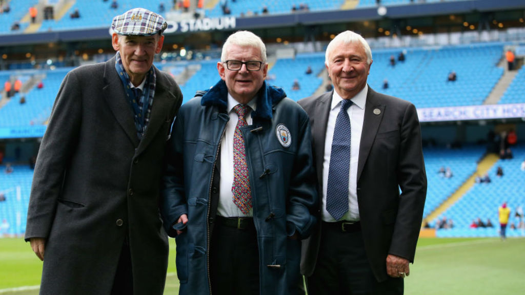 BLUE BLOOD : :  Bernard, along with City legend and Club ambassador Mike Summerbee, presented John Motson with a special blue sheepskin coat when he visited the Etihad to perform his last commentary in 2017