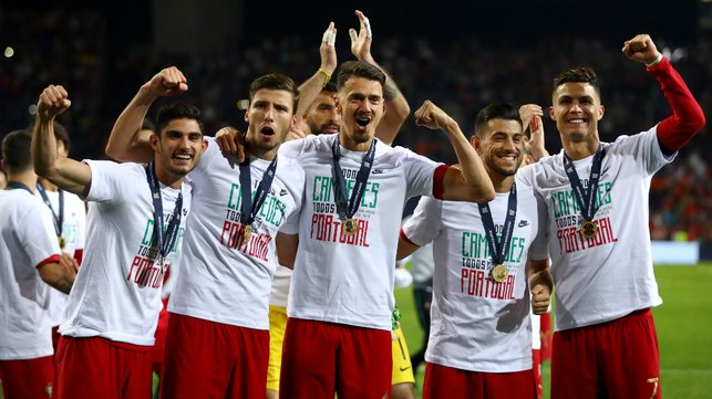 CHAMPION : Joao experience his first taste of international success, winning the inaugural UEFA Nations League title with Portugal this summer.