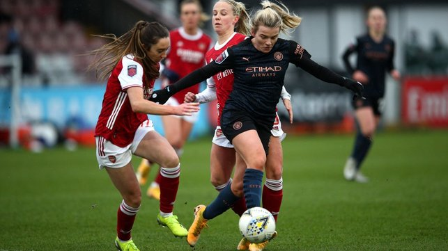 GUNNING FOR GLORY: City became the first away side to beat Arsenal in over a year with Lauren Hemp's late header securing a crucial 2-1 win