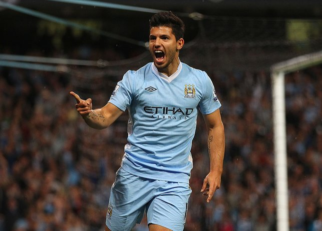 DEBUT DELIGHT : Aguero scored twice in a 4-0 win over Swansea City in his first game in sky blue.