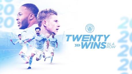 ซิตี้ บวกเพิ่มสถิติชนะติดต่อกัน 20 นัด มากที่สุดในฟุตบอลอังกฤษ
