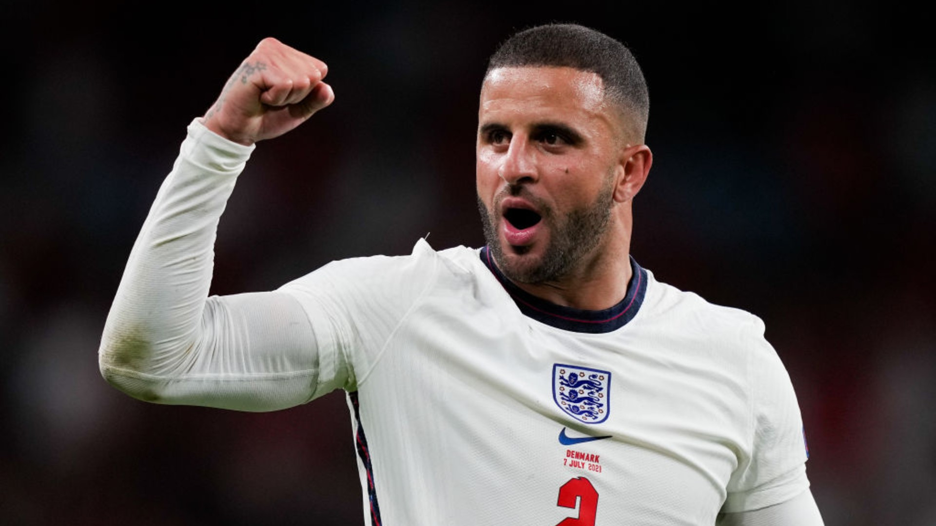 LIONHEART: Walker was one of the standout performers in England's march to the Euro 2020 final