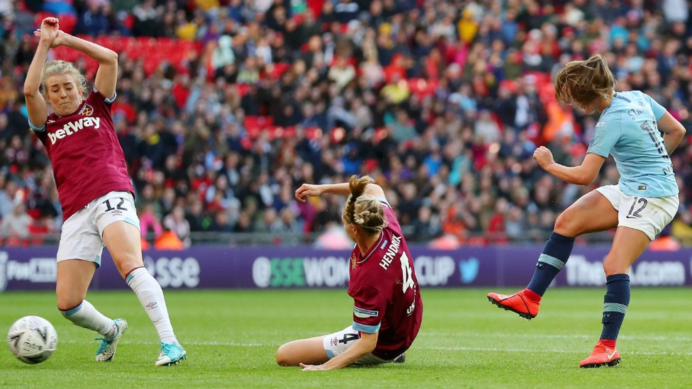 SHE SCORES WHEN SHE WANTS : Georgia Stanway drills home City's second