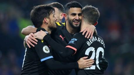 MAHRVELLOUS: Riyad Mahrez celebrates another stunning goal