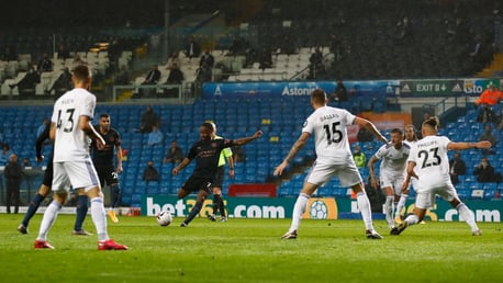 RAHEEM DREAM: Sterling delightfully curls an effort into the far corner