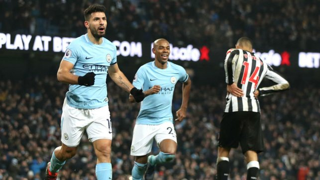 LETHAL WEAPON : Newcastle were in Kun's sights once again as Sergio struck another Magpies treble at the Etihad
