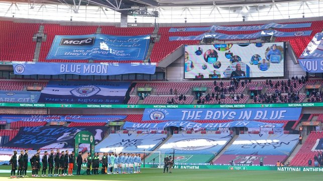 GAME TIME : The national anthem plays as the players arrive on the pitch.