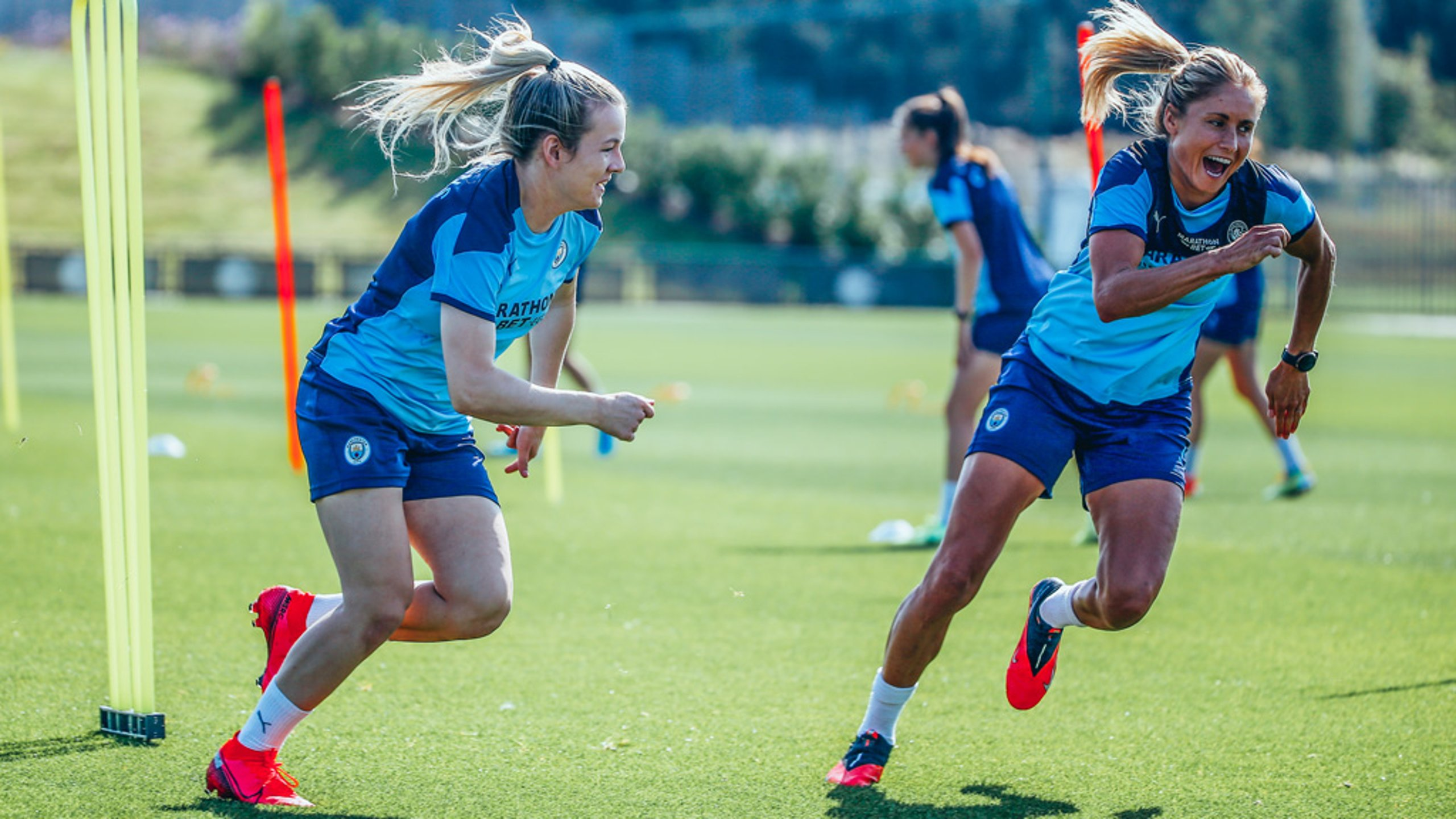 ON YOUR MARKS: Lauren Hemp and Steph Houghton are put through their paces