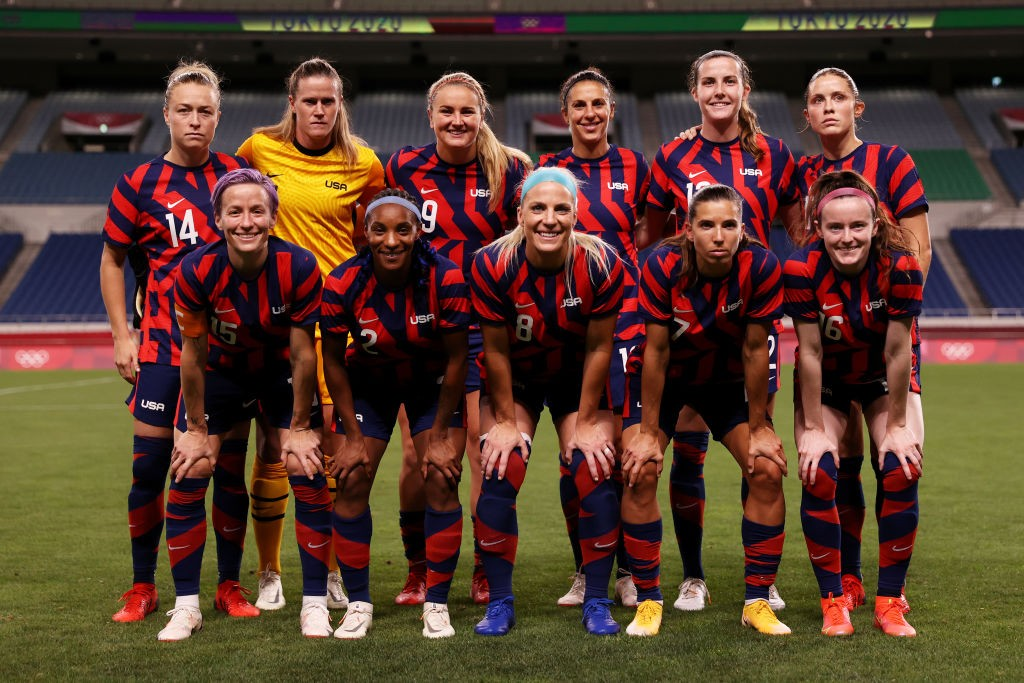 SIX HITS: Abby Dahlkemper (back row far right) and the USA roared back to form against New Zealand