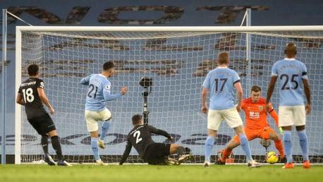 TAKE THAT: Ferran Torres rifles home his first Premier League goal for City
