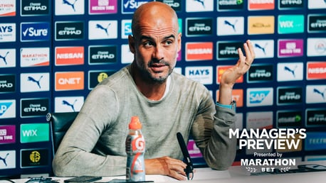 PEP TALK: The boss faced the press ahead of Saturday's Brighton game