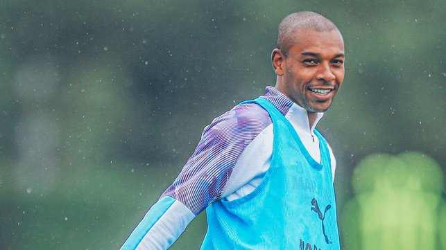 BRAZILIANT: The rain showers didn't dampen Fernandinho's positive mindset either!