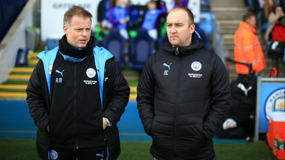 DOUBLE TROUBLE : Nick Cushing and Alan Mahon watch on from the sidelines