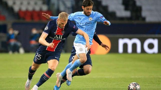 PACE TO BERN: Bernardo Silva skips away from danger