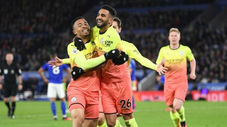 SHEER DELIGHT: Gabriel Jesus and Riyad Mahrez are all smiles after Gabriel's late strike