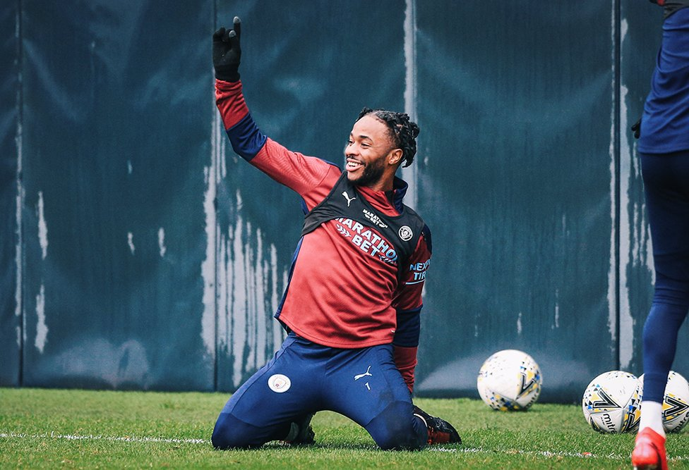 KNEESY DOES IT: There was a spring in Raheem Sterling's step during Monday's session