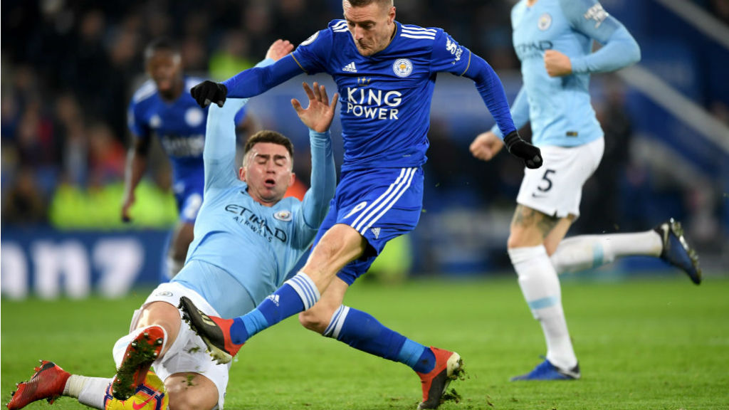 NICK OF TIME : Aymeric Laporte produces a crucial block to deny Jamie Vardy