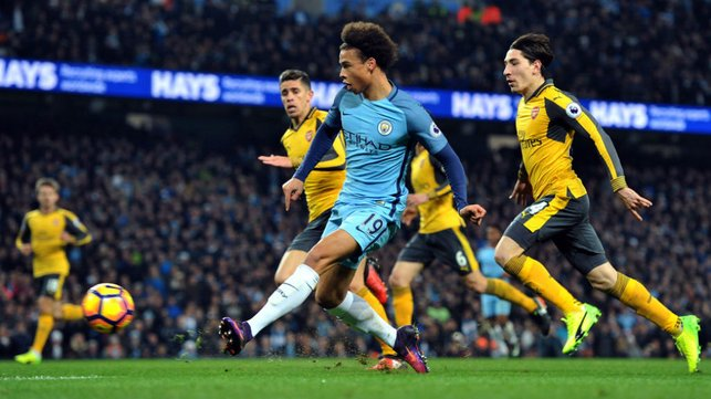 STRIKE ONE: Leroy claimed his first goal against Arsenal in December 2016