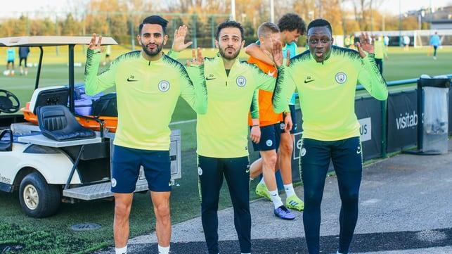 MISSED ME-NDY? : Benjamin Mendy trained with the returning Riyad Mahrez and Bernado Silva