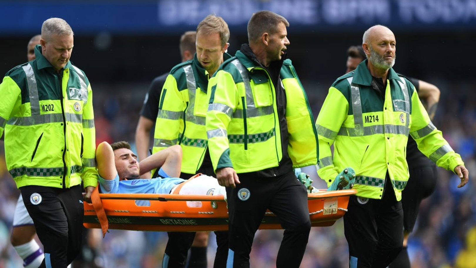 FRUSTRATION: Aymeric Laporte is forced off through injury in the first half.