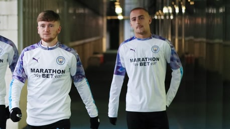 BLUE BOYS: Tommy Doyle and Lewis Fiorini head out to training.