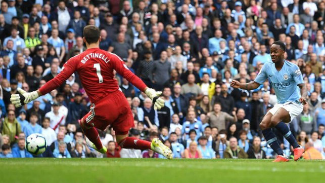 STERLING EFFORT : Raheem's shot is somehow saved by Bettinelli