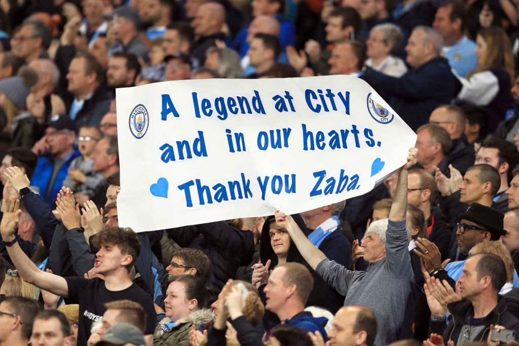 TRUE BLUE: The message spells it out to Zaba from the City fans during his farewell appearance in 2017