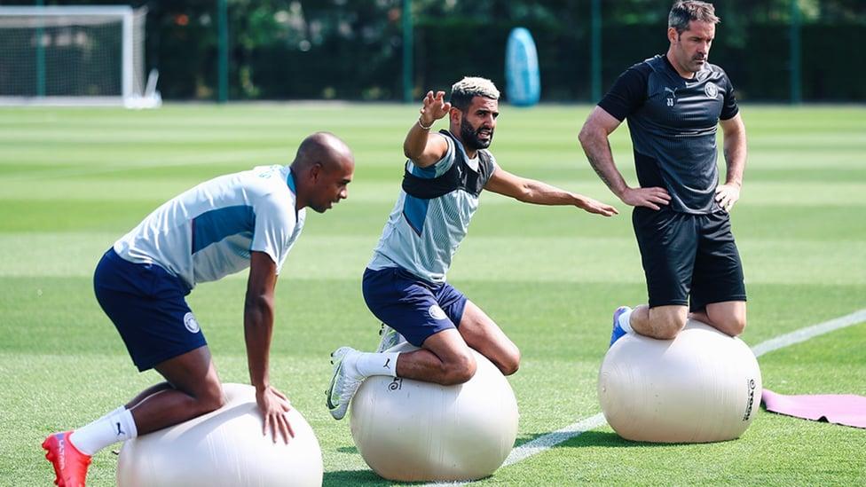 SHARPENING UP: Fernandinho, Riyad Mahrez and Scott Carson put their core strength to the test