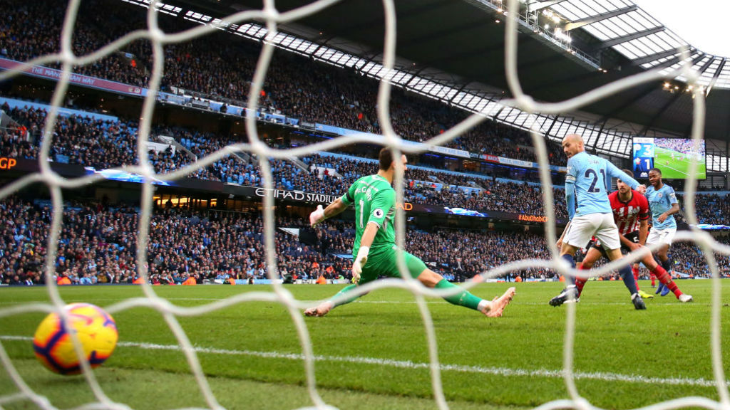 FAB FOUR : The ball nestles in the back of the Southampton net after Raheem Sterling's strike