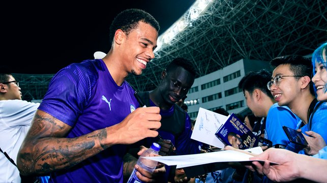 SIGN HERE : Lukas Nmecha is happy to oblige for some autograph hunters