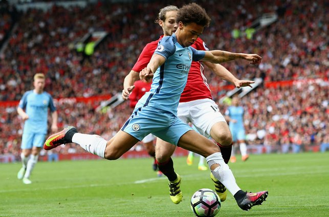 DEBUT TIME: Leroy made his City debut in our derby win at Manchester United in September 2016