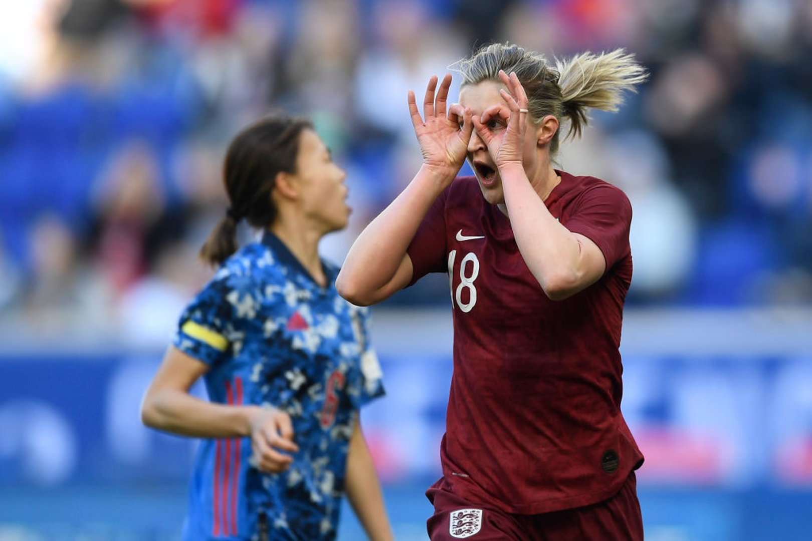 Ellen White celebrates netting for England against Japan in the SheBelieves Cup.