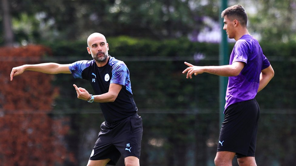THIS WAY TO THE TOP : Immediate instructions for our new recruit from Pep Guardiola