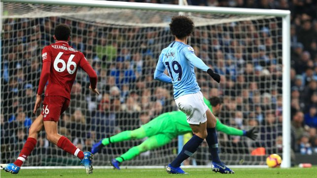 GOLD STRIKE: Leroy strikes his crucial winner in our defining league game against Liverpool in January 2019