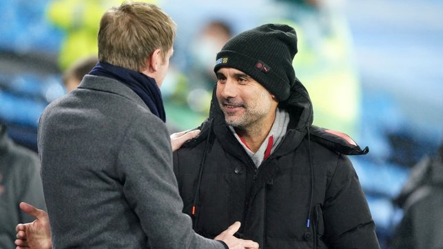 BOSSES : Guardiola and Potter share a warm moment at the Etihad.