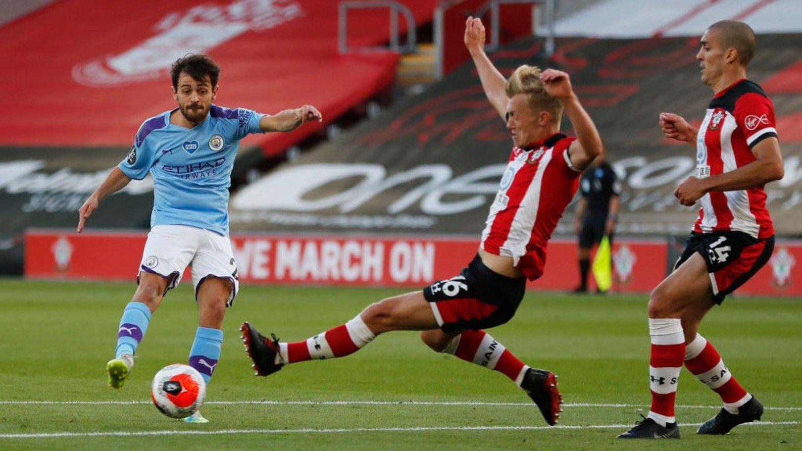 SILVA STRIKE: Bernardo tries his luck