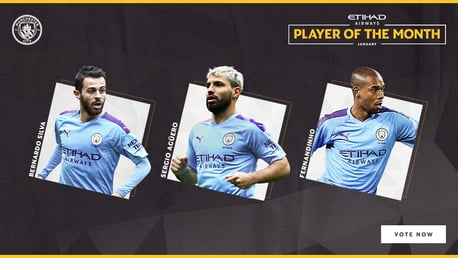 NOMINEES: Sergio Aguero, Fernandinho and Bernardo Silva are up for January's Etihad Player of the Month.