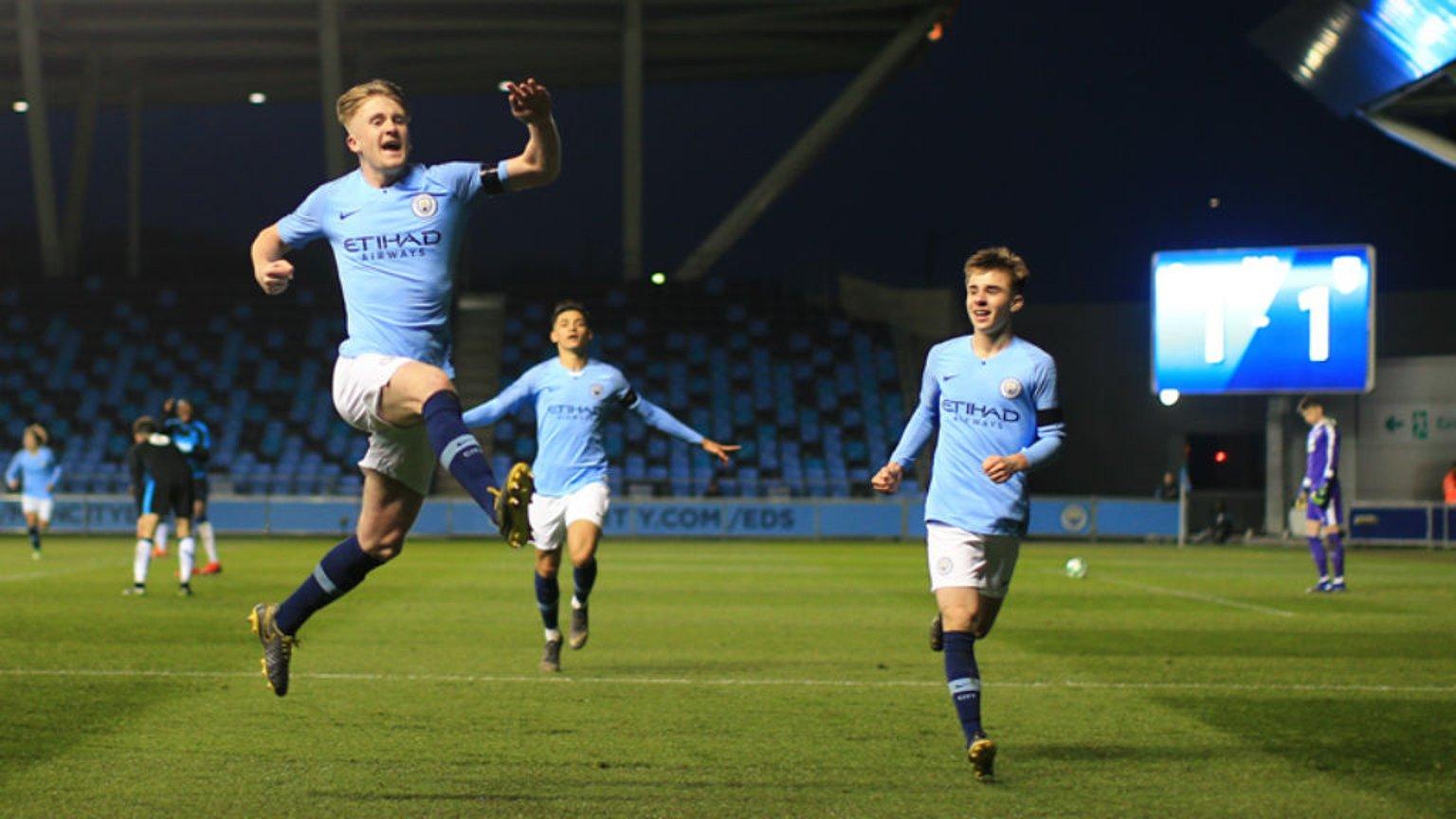 ROCK ON TOMMY: A jubilant Tommy Doyle celebrates his second half strike