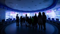 BLUE HEAVEN: Fans experience the immersive video and audio in the players dressing room
