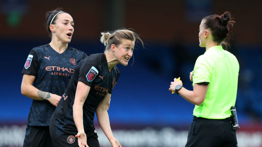 FLASHPOINT: Ellen White is booked after being adjudged to have handled the ball in the box