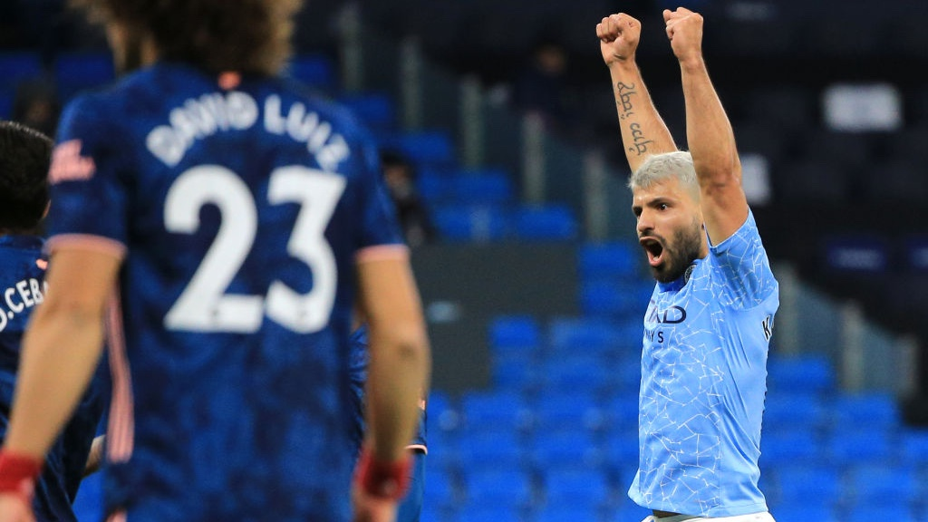 GET IN!: Sergio Aguero can't contain his delight after Raheem Sterling's opener