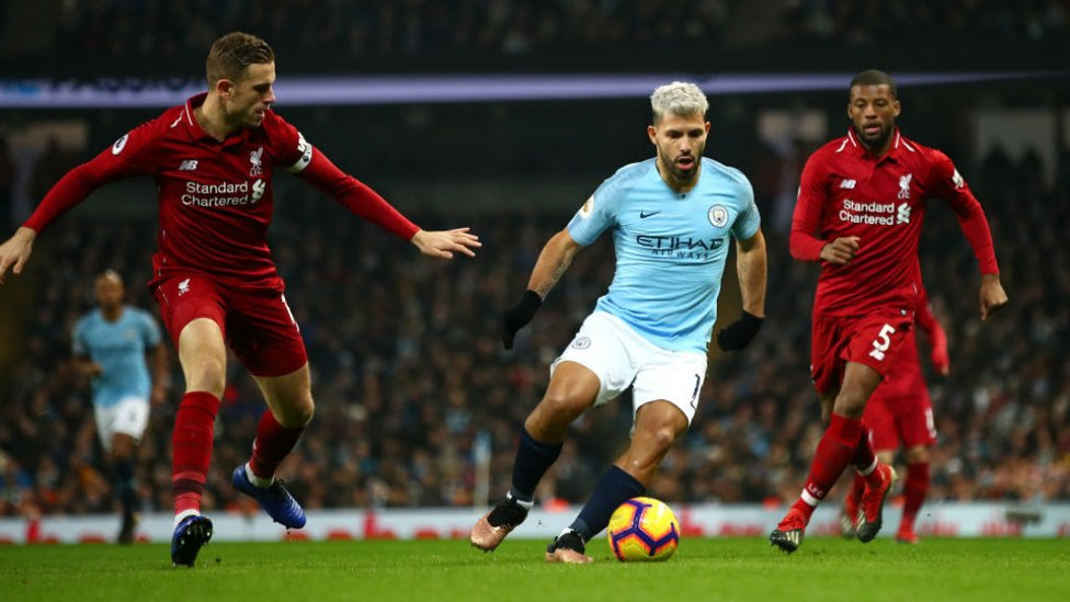 SILVER STREAK : Sergio Aguero runs at the Liverpool defence during our 2-1 win over the Anfield side in January.
