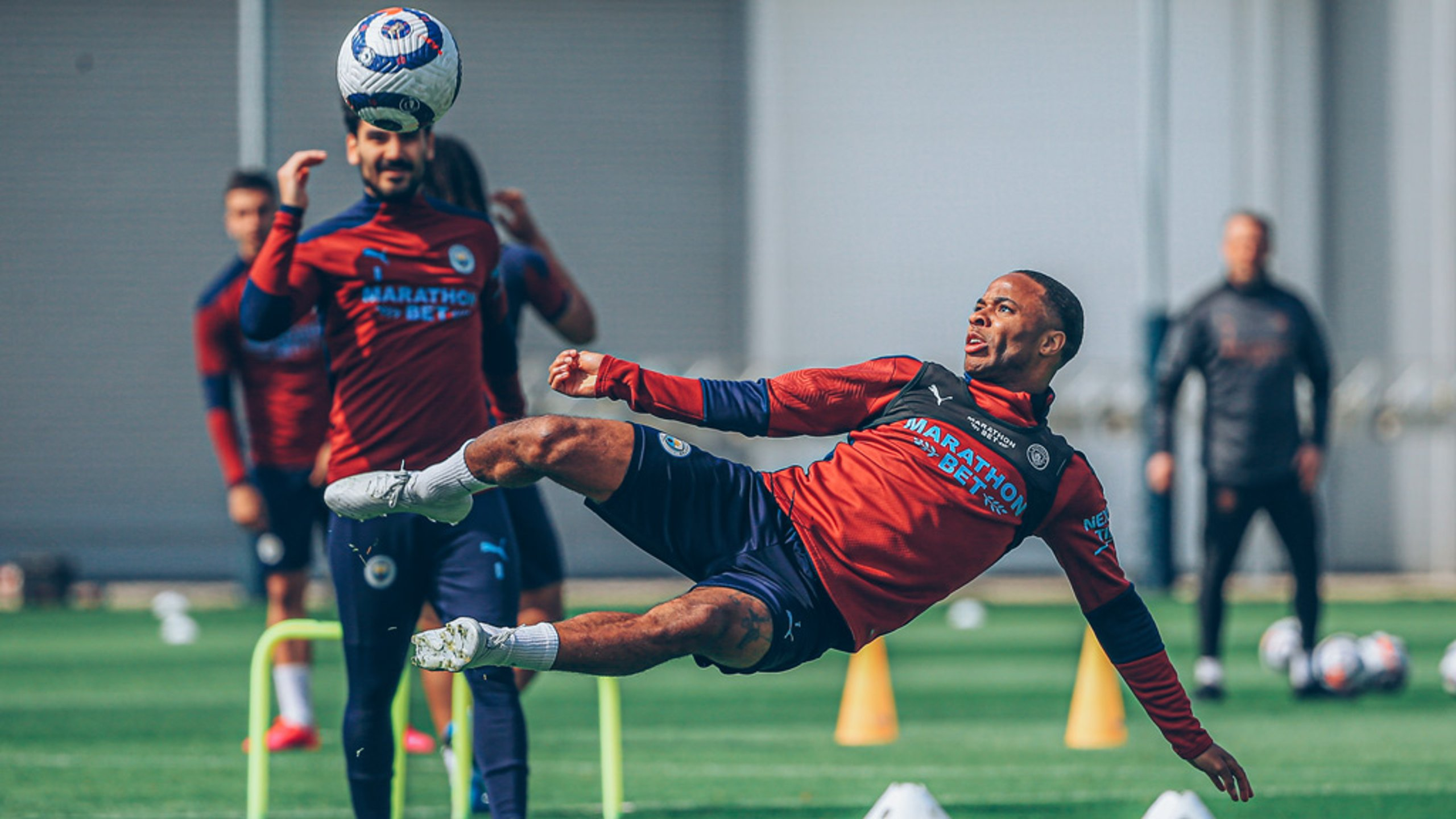 RAZZLE DAZZLE: Raheem Sterling executes a spectacular mid-air volley!