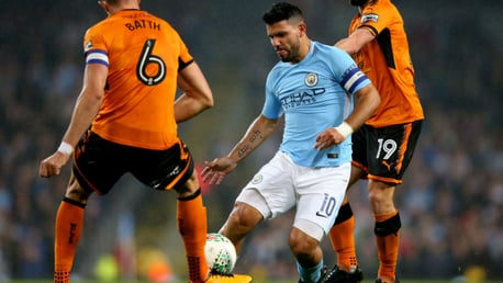LEADING MAN: Sergio Aguero looks to force is way through the Wolves defence