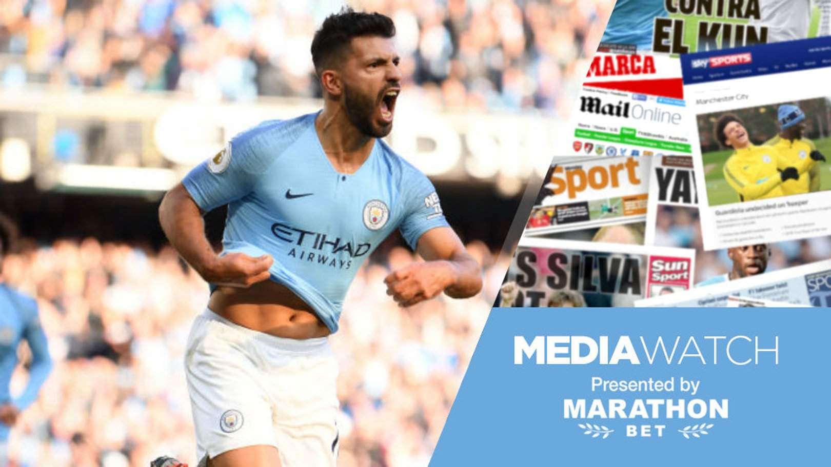 LETHAL WEAPON: Sergio Aguero celebrates after his superb goal against Brighton at the weekend