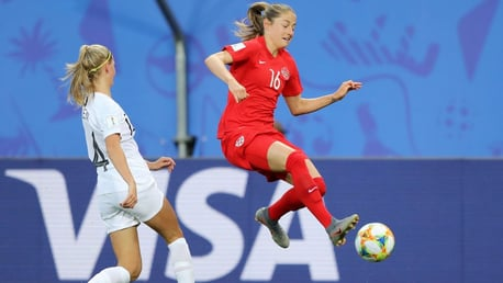 JUMP: Janine Beckie in action for Canada at the World Cup.