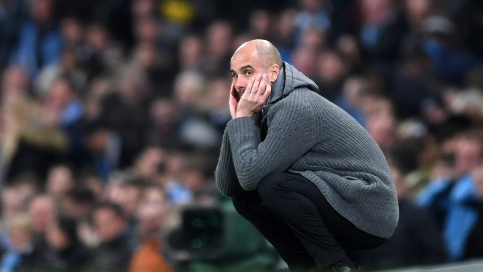 CROUCHING TIGER : Pep can't bear to watch as a chance goes begging